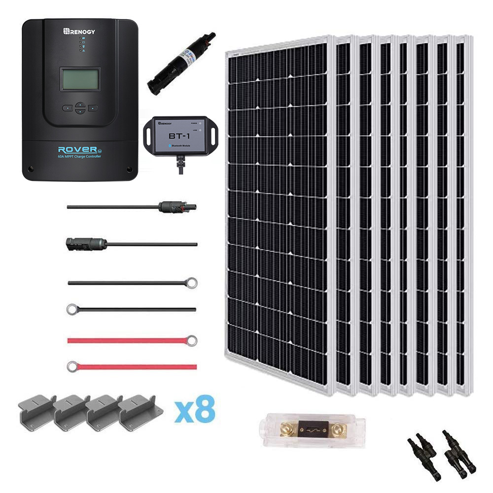 800W 12V Monocrystalline Solar Premium Kit w/Rover 60A Charger Controller